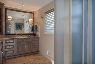 Traditional Master Bathroom with Complex Granite, Undermount sink, three quarter bath, Complex granite counters, Shower