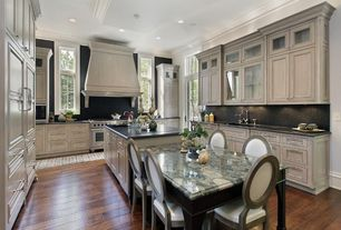 Traditional Kitchen with Breakfast bar, Slate counters, Kitchen island, Inset cabinets, Crown molding, Undermount sink, Slate
