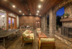 Contemporary Porch with Arched window, Transom window, Outdoor kitchen, French doors, exterior stone floors, Pathway