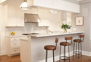 Contemporary Kitchen with Complex marble counters, Flush, Paint 1, Pendant light, Breakfast bar, Complex Marble, U-shaped