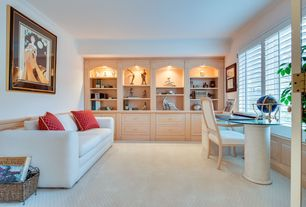 Traditional Home Office with Crown molding, Built-in bookshelf, Wainscotting, Carpet