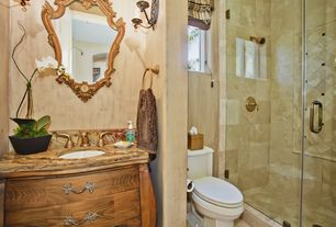 Eclectic 3/4 Bathroom with Wood counters, Gypsum decor - baroque mirror with ornate frame, Flat panel cabinets, Flush