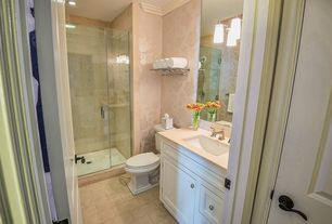 Contemporary 3/4 Bathroom with Wallpaper, Standard height, Flat panel cabinets, full backsplash, limestone tile floors