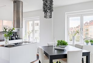 Contemporary Kitchen with Pendant light, Flush, L-shaped, Pental black soapstone, Glass panel, Kitchen island, Breakfast nook