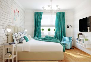 Eclectic Guest Bedroom with Artcraft lighting white chandelier, Hardwood floors, Crown molding, interior wallpaper