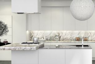 Contemporary Kitchen with Stilnovo: chaos 1 light pendant light in white, Island Hood, Pendant light, Complex marble counters