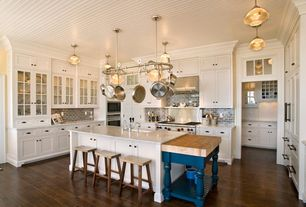 Traditional Kitchen with U-shaped, Breakfast bar, Undermount sink, Quartz countertop, Flat panel cabinets, Flush