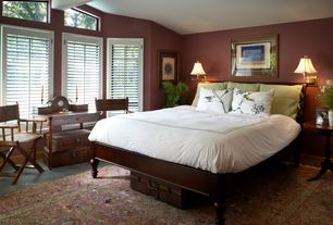 Traditional Guest Bedroom with Skagerak Teak Director's Chair Textalene, Exposed beam, travertine tile floors