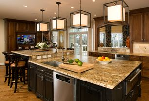 Contemporary Kitchen with Kitchen island, L-shaped, Breakfast bar, two dishwashers, Pendant light, Raised panel, Stone Tile