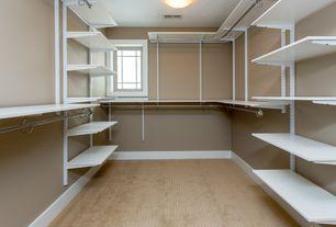Traditional Closet with Casement, Interlocking Pavers, Standard height, Built-in bookshelf, flush light