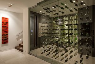 Modern Wine Cellar with Carpet, Built-in bookshelf