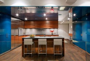 Contemporary Kitchen with Stone Tile, can lights, Standard height, built-in microwave, Breakfast bar, Built In Refrigerator