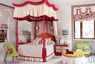 Eclectic Kids Bedroom with interior wallpaper, Built-in bookshelf, Carpet, Window seat