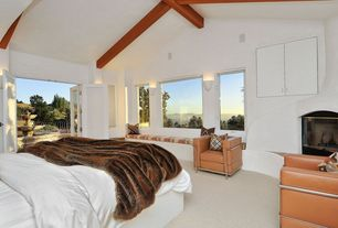 Contemporary Master Bedroom with picture window, Carpet, Water feature, Wall sconce, Built-in window seat, Window seat