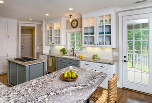 Craftsman Kitchen with Inset cabinets, flush light, Rattan bar stools, Undermount sink, Flat panel cabinets, Kitchen island