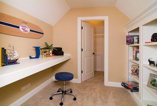 Traditional Kids Bedroom with Standard height, Concrete floors, Built-in bookshelf, flat door