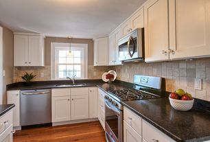 Traditional Kitchen with Stone Tile, Shaker cabinet, European Cabinets, 4 in x 4 in travertine wall tile, Limestone Tile
