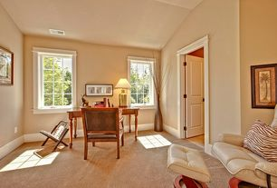 Traditional Home Office with specialty door, Carpet