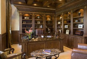 Craftsman Home Office with Carpet, Crown molding, Wainscotting, Built-in bookshelf, Box ceiling