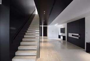 Modern Staircase with Floating staircase, Concrete floors, High ceiling