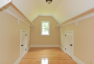 Country Closet with Hardwood floors, White Adjustable Shelf and Rod Support, flush light, High ceiling, Crown molding
