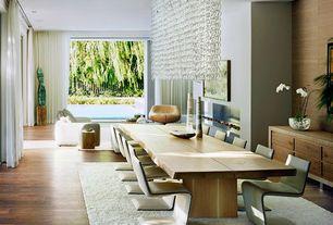 Modern Dining Room with Hardwood floors, Chandelier, Shades of Light Rectangular Glass Chain Island Chandelier - Large