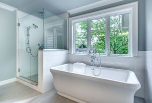 Contemporary Full Bathroom with Freestanding, White Ceramic Tile, White Porcelain Tile, Handheld showerhead, Crown molding