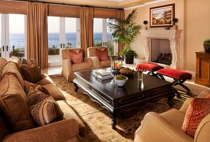 Tropical Living Room with Traditional cross legs red wine linen bench ottoman, French doors, Carpet, Crown molding