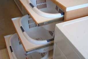 Contemporary Laundry Room with Pull out laundry baskets, DIY Laundry Basket Dresser, limestone tile floors