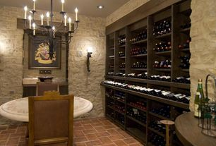 Mediterranean Wine Cellar with VintageView 9-Bottle Wall Mounted Presentation Wine Rack, Chandelier, Wall sconce