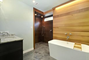 Contemporary Master Bathroom with partial backsplash, Wall sconce, Bathtub, Standard height, Shower, Undermount sink