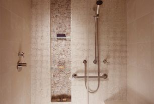 Contemporary Master Bathroom with Java Tan Pebble Tile, Royal Mosa Beige and Brown - 262V, Master bathroom