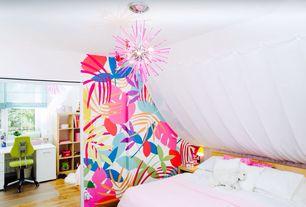 Eclectic Kids Bedroom with Chandelier, Hardwood floors