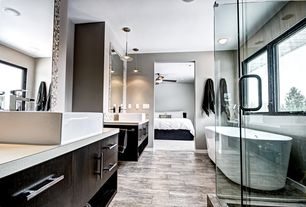 Contemporary Master Bathroom with Ceramic Tile, Vessel sink, Nemo Tile Oxy Deep Grey Porcelain Tile, Master bathroom, Paint