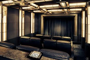 Art Deco Home Theater with Crown molding, Carpet, Wainscotting, Box ceiling