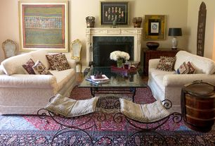 Traditional Living Room with Hardwood floors, stone fireplace
