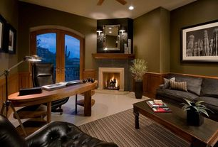Traditional Home Office with Everett upholstered sofa, Fireplace, Paint 1, Concrete tile , Wall sconce, Standard height