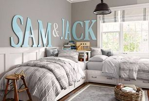 Traditional Kids Bedroom with Hardwood floors, Crown molding, Exposed beam, Pendant light, Bunk beds, Standard height
