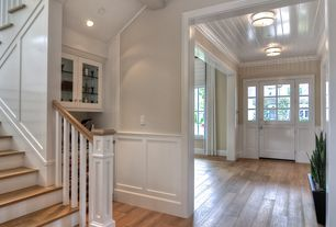 Traditional Entryway with Plank Wood Ceiling (1 in. x 6 in. x 8 ft. Tongue & Groove Board), Hardwood floors, Glass panel door