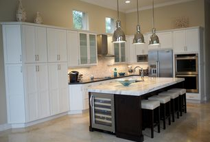 Contemporary Kitchen with Wine refrigerator, Standard furniture smart bar stool, Complex marble counters, Undermount sink