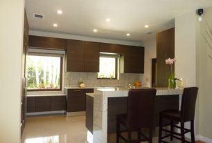 "Contemporary Kitchen with L-shaped, Flush, travertine tile floors, Breakfast bar, Undermount sink, Powell 30.25"" bar stool"