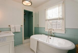 Traditional 3/4 Bathroom with Corian counters, Flat panel cabinets, frameless showerdoor, Inset cabinets, flush light