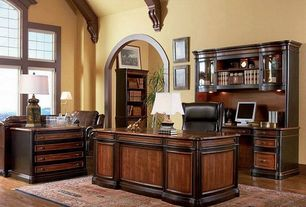 Traditional Home Office with specialty window, Exposed beam, High ceiling, Hardwood floors