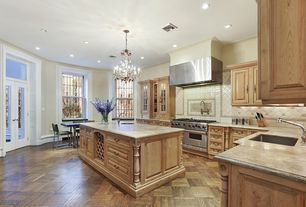 Traditional Kitchen with Glass panel, Hardwood floors, Bruce Natural Oak Parquet Spice Brown Hardwood Flooring, L-shaped
