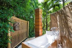 Tropical Master Bathroom with Paint 1, drop in bathtub, Rain shower, Bathtub, Master bathroom, Shower, Standard height