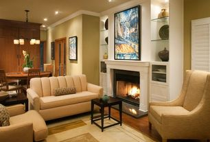 Traditional Living Room with French doors, Fireplace, Hardwood floors, can lights, Crown molding, insert fireplace