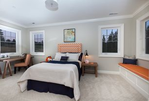 Contemporary Guest Bedroom with Carpet, Window seat, flush light, Crown molding