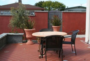 Mediterranean Patio with exterior terracotta tile floors, Fence, exterior tile floors, Gate