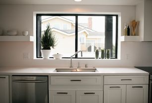 Contemporary Kitchen with One-wall, Undermount sink, Flush, dishwasher, Custom hood, Corian counters, Standard height