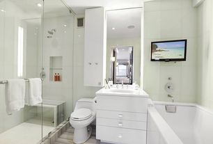Contemporary Master Bathroom with Undermount sink, Master bathroom, European Cabinets, frameless showerdoor, Flush